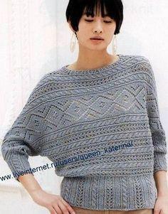 Пуловер связанный поперек