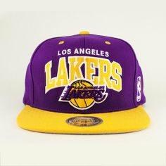 ca2bcd2b828 Los Angeles Lakers Purple Gold Two Tone Snapback Adjustable Plastic Snap  Back Hat   Cap