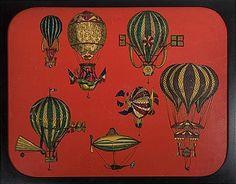 Hot Air Balloon Lithograph Panel by Piero Fornasetti