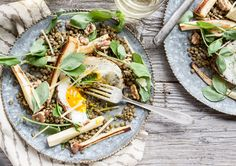 Parsnip, Lentil & Walnut Salad with Fried Eggs - Dishing Up the Dirt