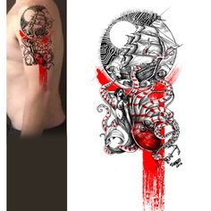 A shoulder tattoo design by simbe for roethig.dennis. This tattoo combines futuristic circuits with nautical elements, along with a red ink smear reminiscent of trash polka. #tattoo #maritime #illustration