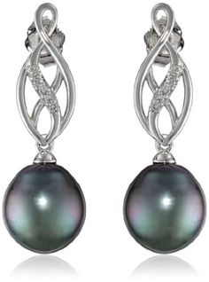 10k White Gold Tahitian Cultured Pearl and Diamond (0.04cttw, G-H Color, I2-I3 Clarity) Pin Earrings >>> You can find more details by visiting the image link.