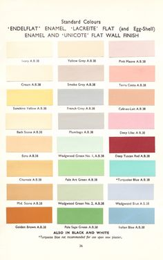 I am trying to decide between the green, blue or yellow for my kitchen...  from 1930's book, page of interior colors