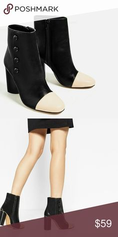 "Zara Bottom Detail High Heel Ankle Boots Authentic Zara contrasting coloured toe cap and buttons on the sides. Zip closure. Block heel height of 3.5"". 100% Polyurethane. EUR 35/US 5. Brand new in original dustbag and packaging as shown. Zara Shoes Ankle Boots & Booties"