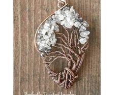 Alambre envuelto el árbol de la vida Bonsai colgante iolita, Moonstone, joyas hechas a mano, joyería de árbol de alambre con cuentas perfectamente trenzado de joyería