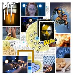 """""""♠: """"here we go again, we're sick like animals, we play pretend..."""""""" by megan-j-loves-you ❤ liked on Polyvore featuring art, Collage, marvel, wolverine and jeangrey"""