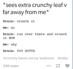 there could be a volcano In between me and that crunchy leaf, and I would still find a way to get to it