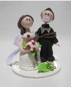 Wedding cake topper, funny wedding cake topper, cake topper, groom tied up by bride