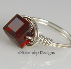 Wire Wrapped Silver Ring Swarovski Crystal by SerendipDesignsJewel, $24.00
