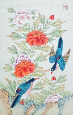 Korean Painting, Chinese Painting, Chinese Art, Japanese Artwork, Japanese Painting, Botanical Illustration, Illustration Art, Fun Arts And Crafts, Samurai Art