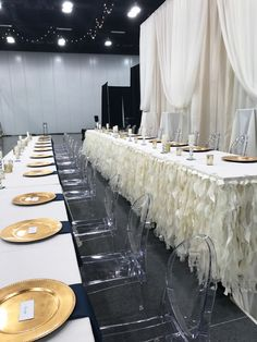 bridal party table set up for reception Bridal Party Tables, Table Set Up, Table Settings, Reception, Wedding Ideas, Table Decorations, Weddings, Furniture, Home Decor