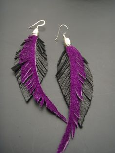Leather Feather Earrings - Black and Purple Fleathers. $40.00, via Etsy.