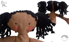 Mita is an handmade softie doll: 16 inch, necklace with the Ethiopian flag, embroidery eyes. Pequeña Mita, muñeca etíope.