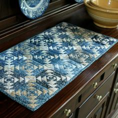 Blue Petit Pineapples Table Runner by PetiteQuilts on Etsy