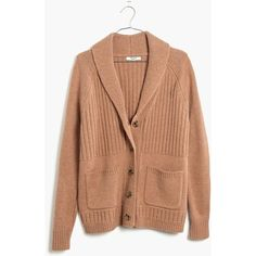 MADEWELL Shawl-Collar Rib Cardigan Sweater ($128) ❤ liked on Polyvore featuring tops, cardigans, hthr saddle, madewell, beige top and ribbed top