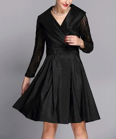 Look at this Jerry T Fashion Black Lace-Sleeve A-Line Dress - Women & Plus on #zulily today!