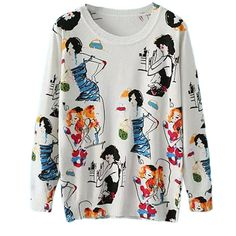 White Ladies Crew Neck Beauty Cartoon Patterned Pullover Sweater (€28) ❤ liked on Polyvore featuring tops, sweaters, white, white pullover sweater, pullover sweater, crewneck sweater, crewneck pullover and white crew neck sweater