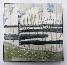Marshscape Collage #8/16, Linen, wax, metal, wire, wire thread, 20 x 20 cms
