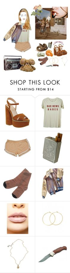 """""""Bad News Babes"""" by ghoul-babe ❤ liked on Polyvore featuring Office, American Apparel, Golden Goose, GUESS by Marciano, LASplash, Charlene K, Jessica de Lotz Jewellery and Böker"""