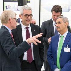 Per Vegard Nerseth, Head of ABB Robotics, talks to Ulrich Spiesshofer and Bazmi Husain at Hannover Fair on Day 1