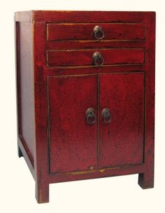 Oriental Furnishings   Small Antique Red Oriental Cabinet  Great As End  Table Or Night