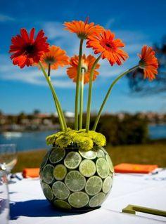 Gerbera Daisy Wedding Centerpieces | Gerbera and Sliced Lemon Centerpieces for Summer Weddings | Budget ...