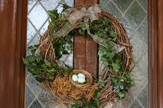 spring porch decorating ideas | wrapped ivy around a grapevine wreath, hot glued moss and an egg ...