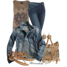 put together outfit | outfits to put together / Khaki and Denim, created by flowerchild805 ...