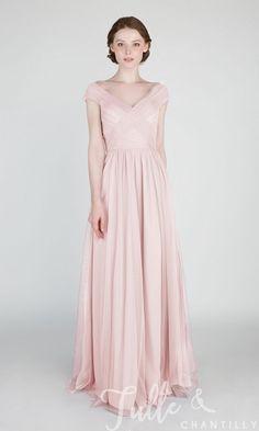 Elegant Long Off Shoulder Tulle Bridesmaid Dress TBQP420