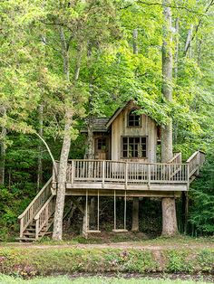 This multi-level treehouse overlooking the Cloudland Station's Mill Creek was designed by Pete Nelson of Animal Planet's Treehouse Masters.