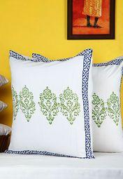 Zeenat Hand Block Pique Cushion Covers(Set Of 2)