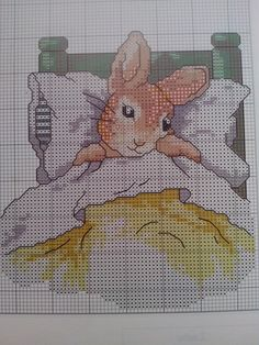 Cross Stitch Beatrix Potter Peter in bed - Pattern / Patrón -Álbum colección Cuadernos nº 13 , Los labores de Ana.