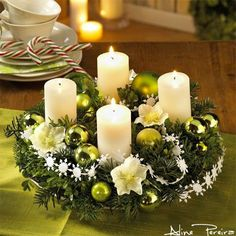 Christmas or Winter Centerpiece - wreath, candles, and accessories.