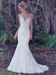 Maggie Sottero - ANALEIGH, An intricate lattice lace with a double keyhole back and illusion tulle neckline adds a modern twist to this classic fit and flare wedding dress. Finished with covered buttons over zipper closure. Wedding Dress Gallery, Wedding Dresses Photos, Wedding Dress Sizes, Boho Wedding Dress, Bridal Dresses, Wedding Gowns, Prom Dresses, Sheath Dresses, Fall Wedding