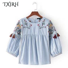 TXJRH Fashion Striped Floral Flower Embroidery Tassel Blouse O Neck Pullover Half Lantern Sleeve Shirt Vintage Ethnic Women Tops-in Blouses & Shirts from Women's Clothing & Accessories on Aliexpress.com | Alibaba Group