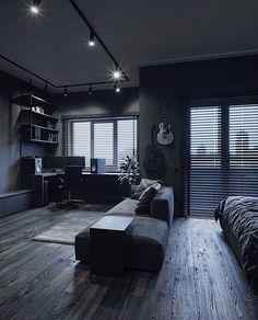 Cosy Home Interior .Cosy Home Interior Loft Design, Home Room Design, House Design, Black Bedroom Design, Black Interior Design, Bedroom Modern, Loft Interior, Bedroom Setup, Appartement Design