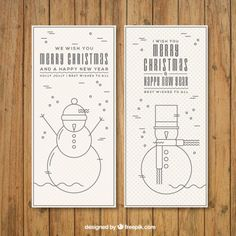 Snowman Christmas Banners Set Free Vector