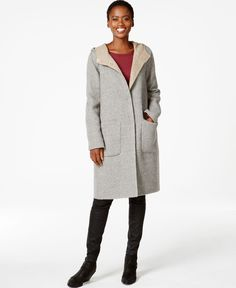 Eileen Fisher Hooded Wool Car Coat