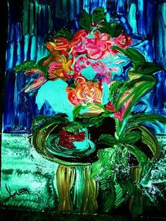 Saatchi Online Artist Irish Rainbeau; Painting, FLOWERS ON A TEA TABLE #art