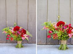 Dahlias, snapdragons, tulips, cottage yarrow, red viburnum berry, and solidago