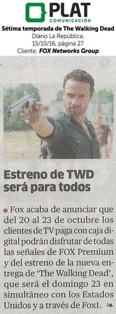 FOX Networks Group: Sétima temporada de The Walking Dead en el diario La República de Perú (15/10/16)
