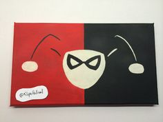 Harley Quinn Inspired Fan Art Minimalist Handmade Canvas Painting Red Black White Marvel Villain Acrylic