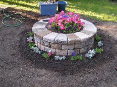Raised round flower bed