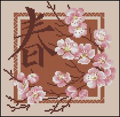 Free cross-stitch pattern 'Sakura' Pattern Name: Sakura Company: http://cross-stitching.biz Fabric: Aida 14, Mushroom 98w X 98h