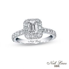 Neil Lane Bridal® Collection 1-3/8 CT. T.W. Emerald-Cut Diamond Frame Engagement Ring in 14K White Gold