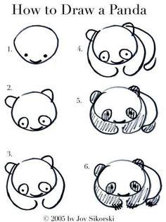 Drawings of pandas step by step easy panda to draw easy panda drawings easy baby panda . drawings of pandas step Drawing Lessons, Drawing Techniques, Art Lessons, Drawing Tips, Drawing Ideas, Panda For Kids, Drawing For Kids, Art For Kids, Doodles