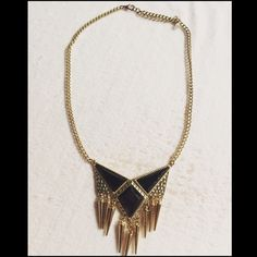 😻 Gold with Black Jewel & Spikes Necklace Gold with Black Jewel with Spikes dangling Necklace. Has adjustable clasp. Mint cond. comes with tag. Jewelry Necklaces