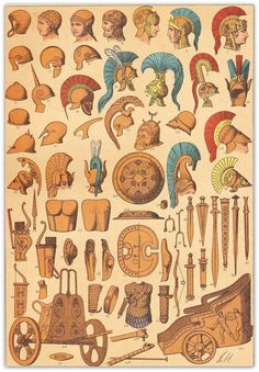 #Ancient #greek #weapons and #carts #chromolithograph - 1894.