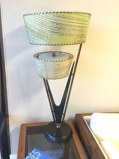RARE VTG 1950s MAJESTIC LAMP FIBERGLASS SHADES MID CENTURY MODERN RETRO ATOMIC