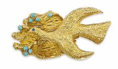 Megaletor brooch of gold with sapphire eye and turquoise accents by Georges Braque, 1960s, sold for $9,663 at Christie's London June 13, 201...